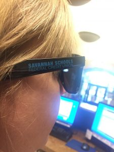 Sunglasses with the Savannah Schools Federal Credit Union logo