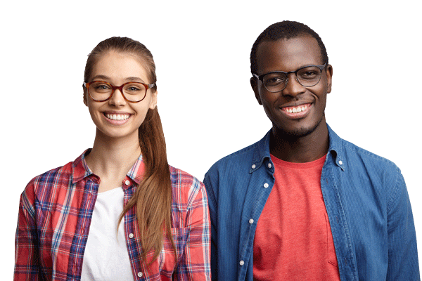 Portrait of interracial couple smiling with pleasure standing shoulder to shoulder