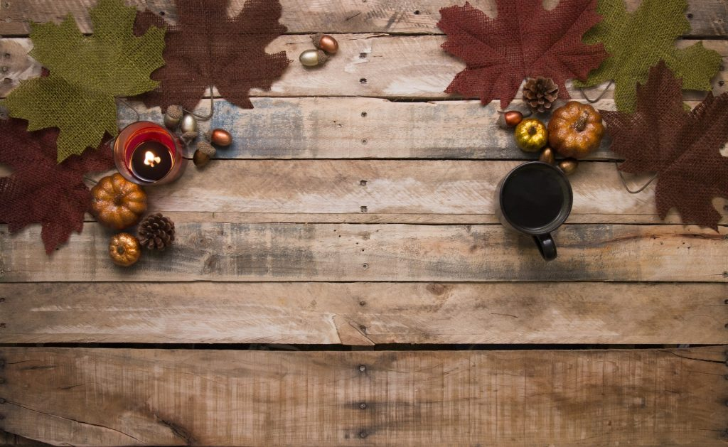 Fall backdrop with a picnic table and leaves